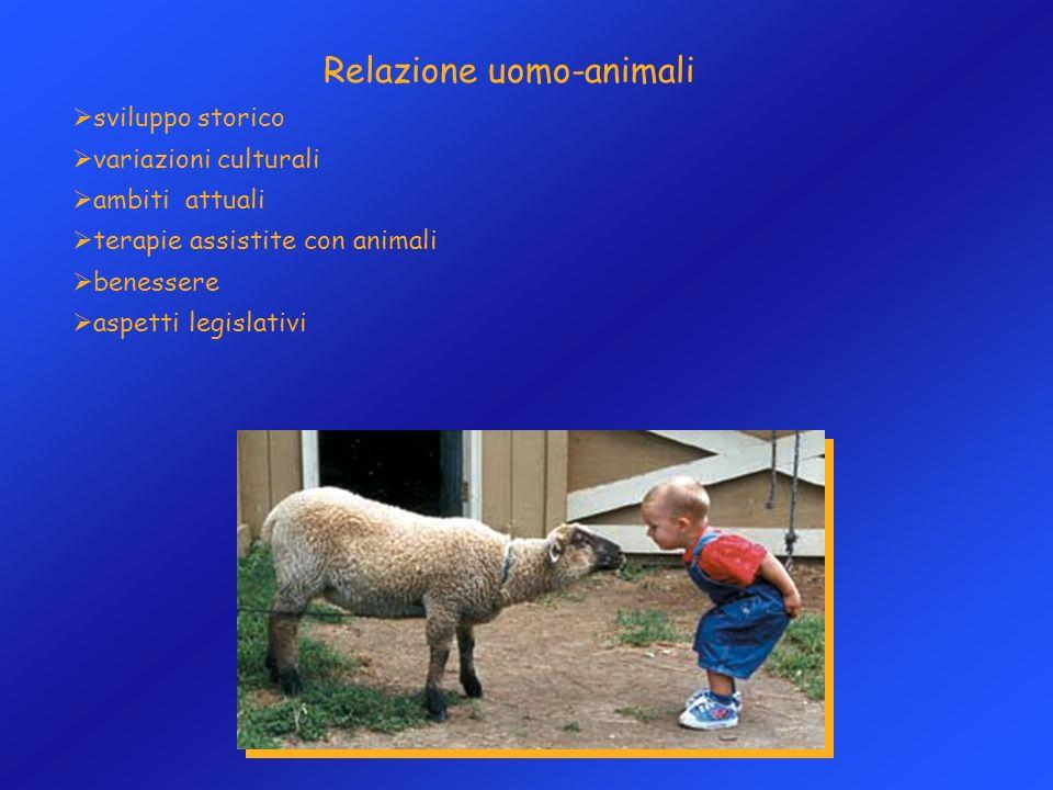 Relazione uomo-animali sviluppo storico variazioni culturali ambiti attuali terapie assistite con animali benessere aspetti legislativi