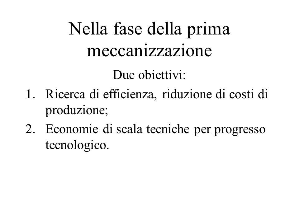 Nella fase della prima meccanizzazione Due obiettivi: 1.Ricerca di efficienza, riduzione di costi di produzione; 2.Economie di scala tecniche per prog