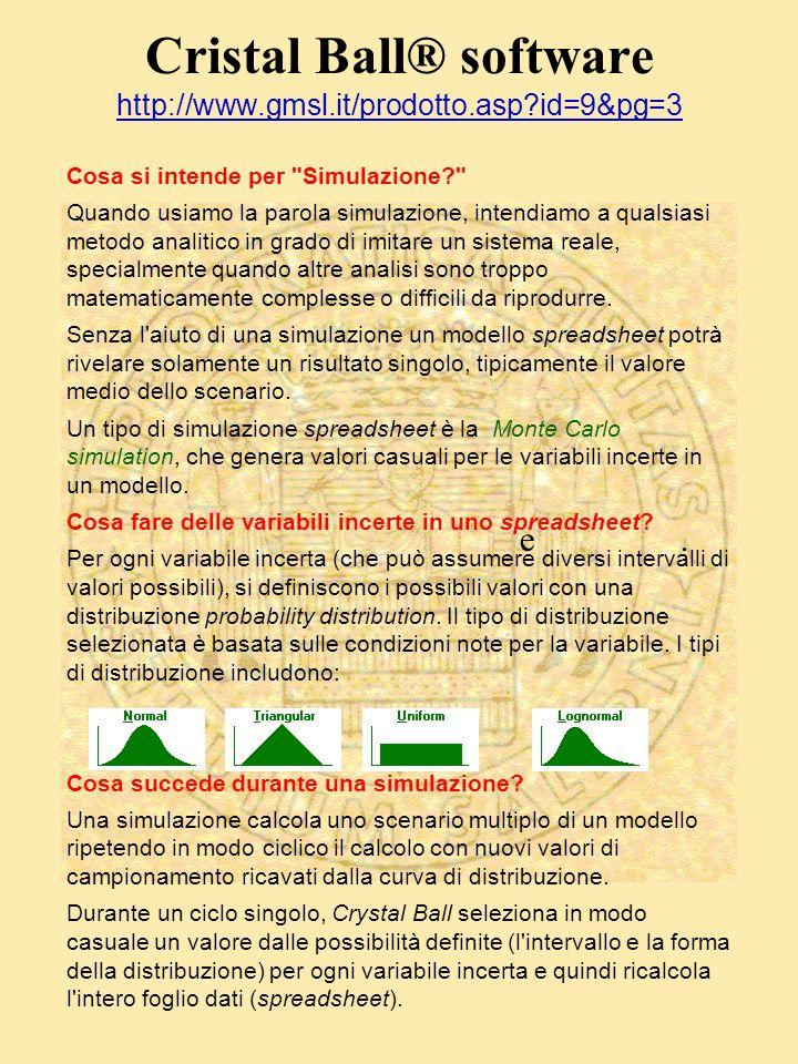 Cristal Ball® software http://www.gmsl.it/prodotto.asp id=9&pg=3 http://www.gmsl.it/prodotto.asp id=9&pg=3 Cosa si intende per Simulazione Quando usiamo la parola simulazione, intendiamo a qualsiasi metodo analitico in grado di imitare un sistema reale, specialmente quando altre analisi sono troppo matematicamente complesse o difficili da riprodurre.