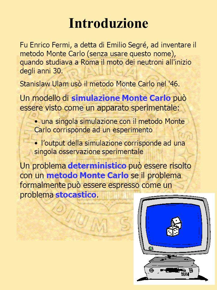 Fu Enrico Fermi, a detta di Emilio Segré, ad inventare il metodo Monte Carlo (senza usare questo nome), quando studiava a Roma il moto dei neutroni all inizio degli anni 30.