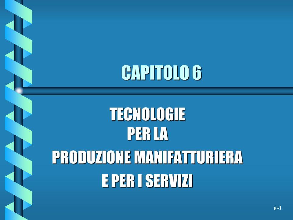 1 CAPITOLO 6 TECNOLOGIE PER LA PRODUZIONE MANIFATTURIERA E PER I SERVIZI 6 -