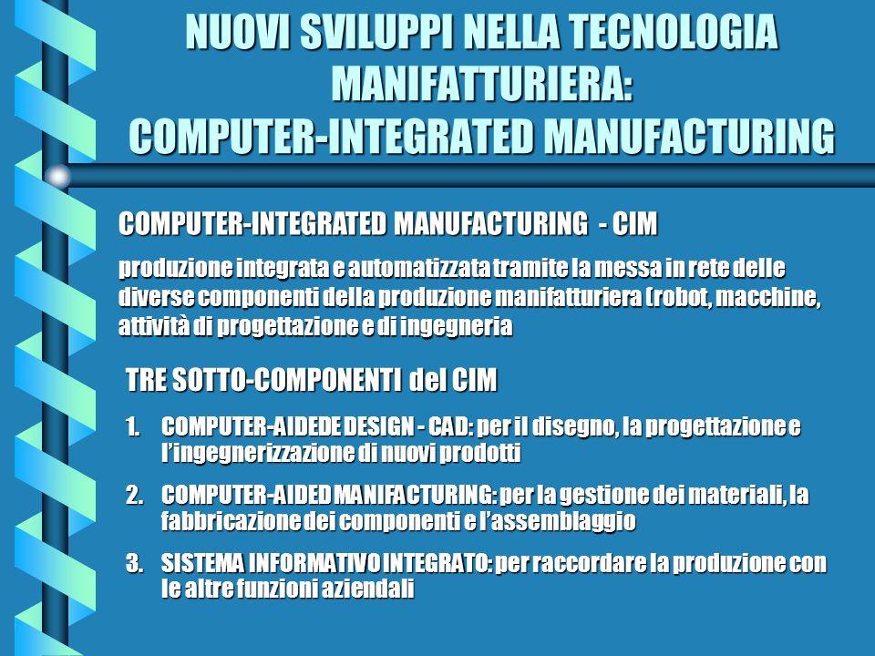 NUOVI SVILUPPI NELLA TECNOLOGIA MANIFATTURIERA: COMPUTER-INTEGRATED MANUFACTURING COMPUTER-INTEGRATED MANUFACTURING - CIM produzione integrata e autom