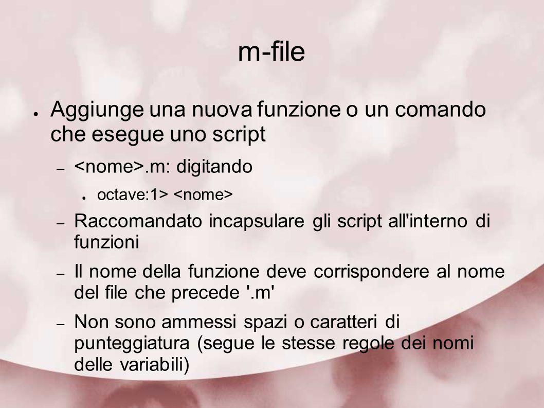 m-file Aggiunge una nuova funzione o un comando che esegue uno script –.m: digitando octave:1> – Raccomandato incapsulare gli script all'interno di fu