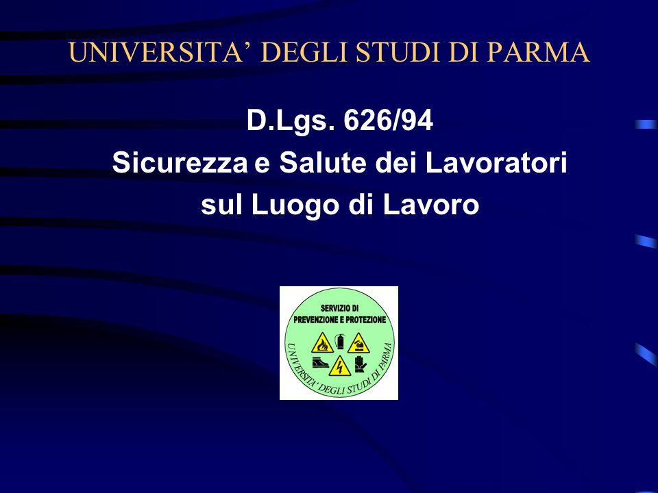 UNIVERSITA DEGLI STUDI DI PARMA D.Lgs. 626/94 Sicurezza e Salute dei Lavoratori sul Luogo di Lavoro
