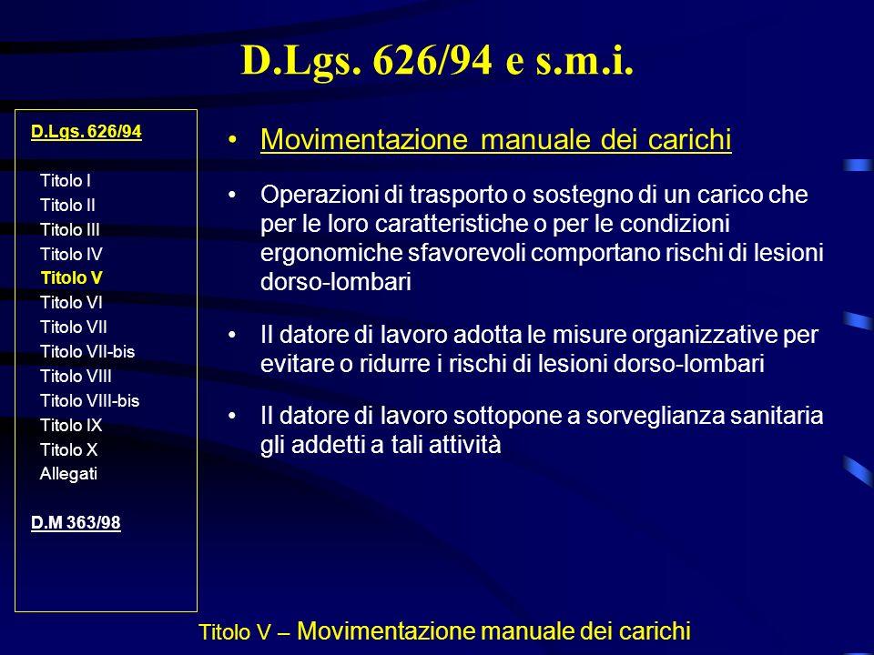 D.Lgs. 626/94 e s.m.i. D.Lgs. 626/94 Titolo I Titolo II Titolo III Titolo IV Titolo V Titolo VI Titolo VII Titolo VII-bis Titolo VIII Titolo VIII-bis