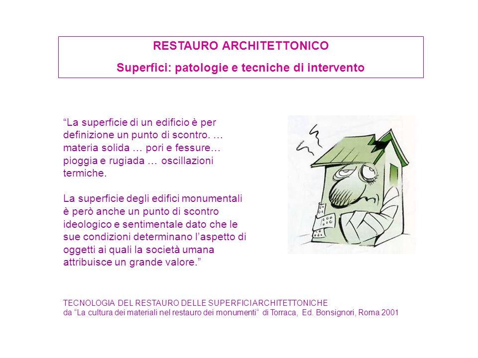 RESTAURO ARCHITETTONICO Superfici: patologie e tecniche di intervento La superficie di un edificio è per definizione un punto di scontro. … materia so