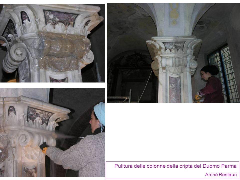 Pulitura delle colonne della cripta del Duomo Parma Arché Restauri
