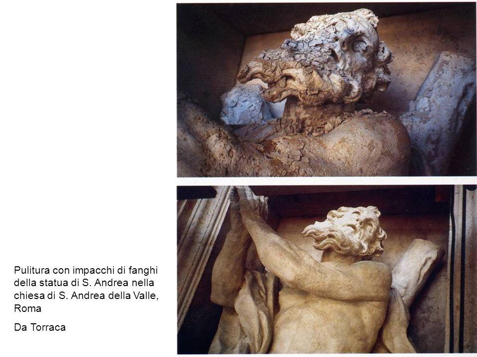 Pulitura con impacchi di fanghi della statua di S. Andrea nella chiesa di S. Andrea della Valle, Roma Da Torraca