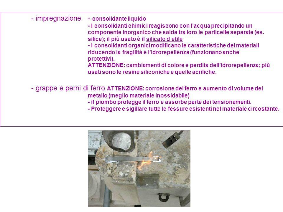 - impregnazione - consolidante liquido - I consolidanti chimici reagiscono con lacqua precipitando un componente inorganico che salda tra loro le part