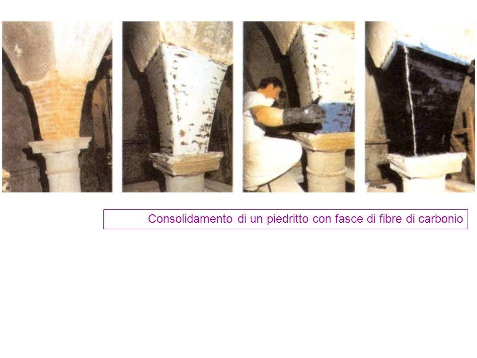 Consolidamento di un piedritto con fasce di fibre di carbonio