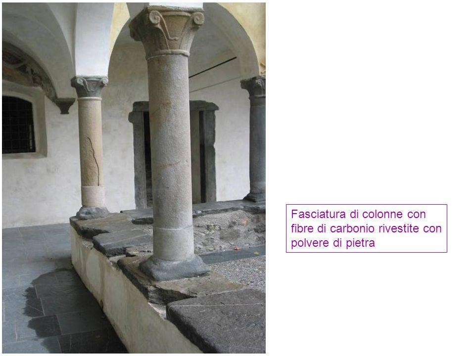 Fasciatura di colonne con fibre di carbonio rivestite con polvere di pietra