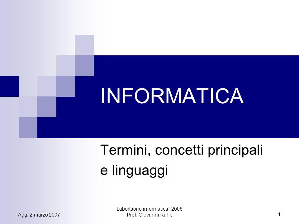 Labortaorio informatica 2006 Prof.Giovanni Raho12 Agg.