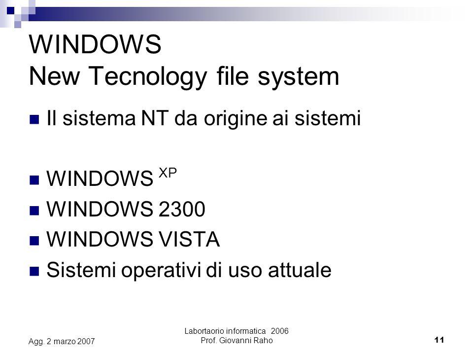 Labortaorio informatica 2006 Prof.Giovanni Raho11 Agg.
