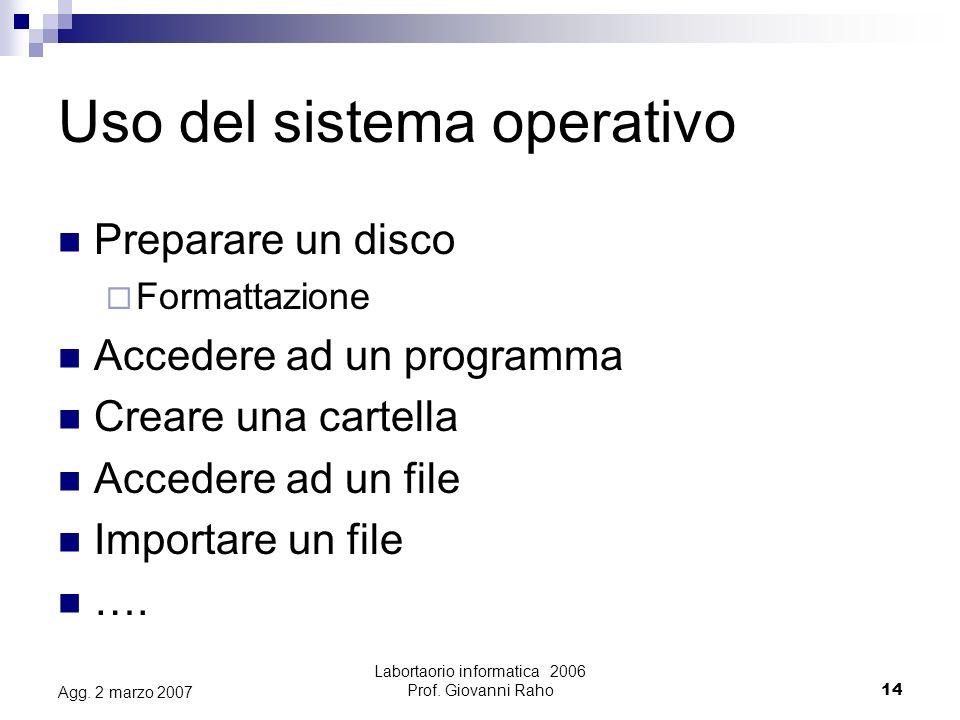 Labortaorio informatica 2006 Prof. Giovanni Raho14 Agg.