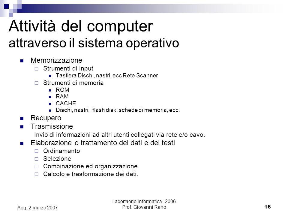 Labortaorio informatica 2006 Prof.Giovanni Raho16 Agg.