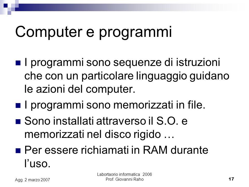 Labortaorio informatica 2006 Prof. Giovanni Raho17 Agg.