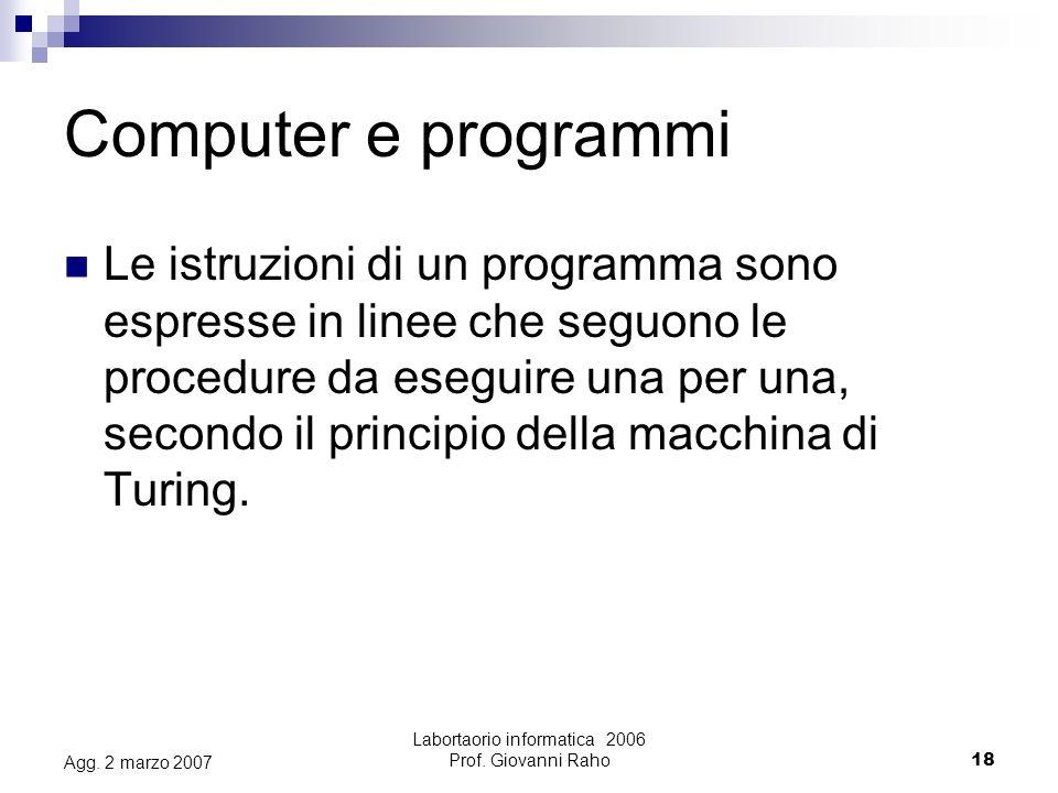 Labortaorio informatica 2006 Prof. Giovanni Raho18 Agg.