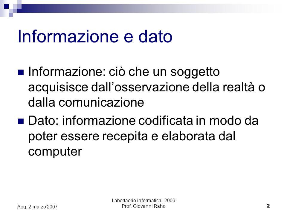 Labortaorio informatica 2006 Prof.Giovanni Raho2 Agg.