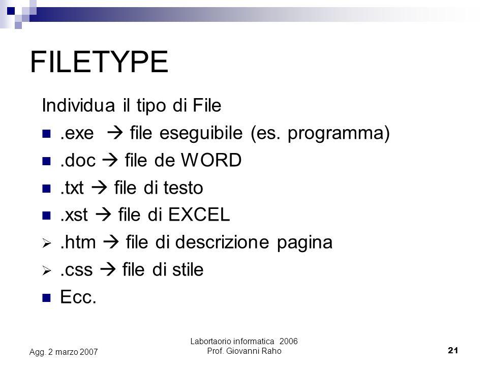 Labortaorio informatica 2006 Prof.Giovanni Raho21 Agg.
