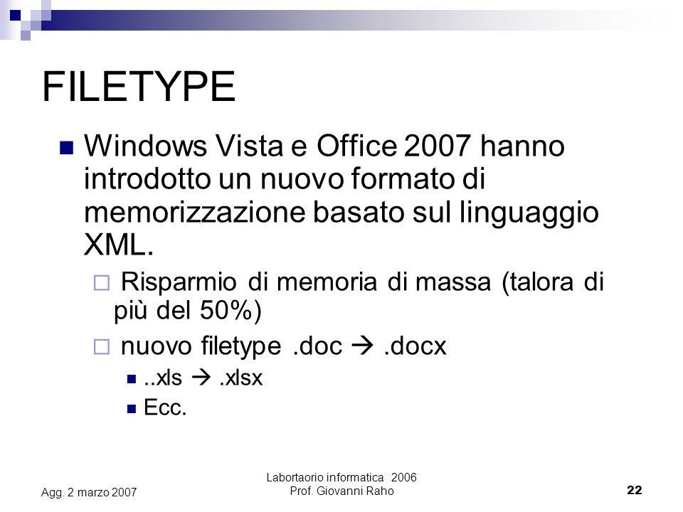 Labortaorio informatica 2006 Prof.Giovanni Raho22 Agg.