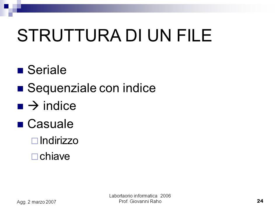 Labortaorio informatica 2006 Prof.Giovanni Raho24 Agg.