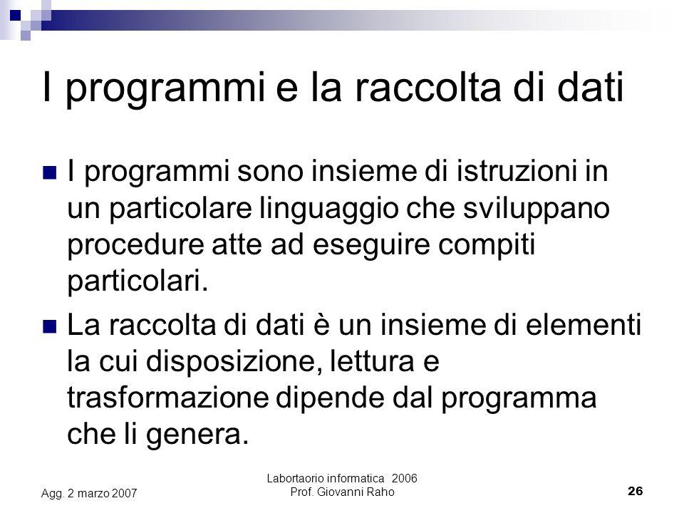 Labortaorio informatica 2006 Prof. Giovanni Raho26 Agg.