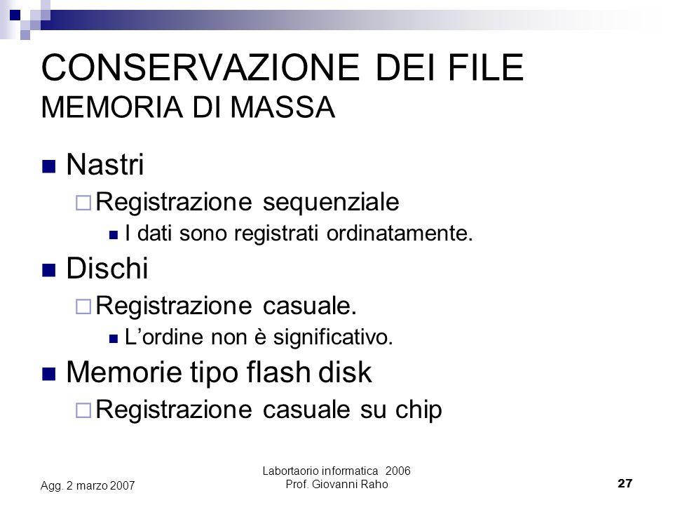 Labortaorio informatica 2006 Prof. Giovanni Raho27 Agg.
