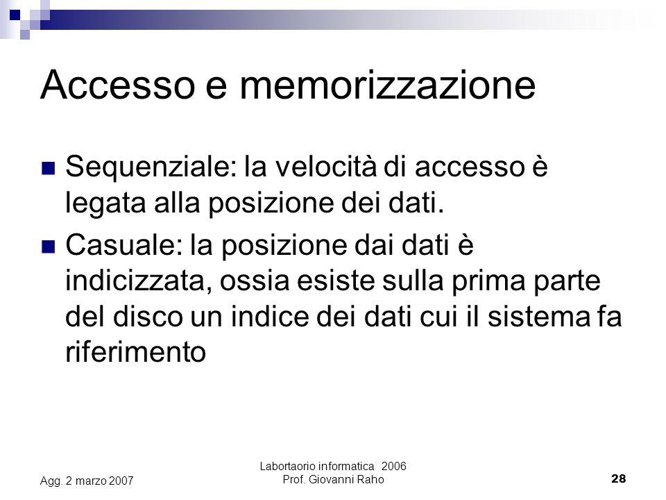 Labortaorio informatica 2006 Prof.Giovanni Raho28 Agg.