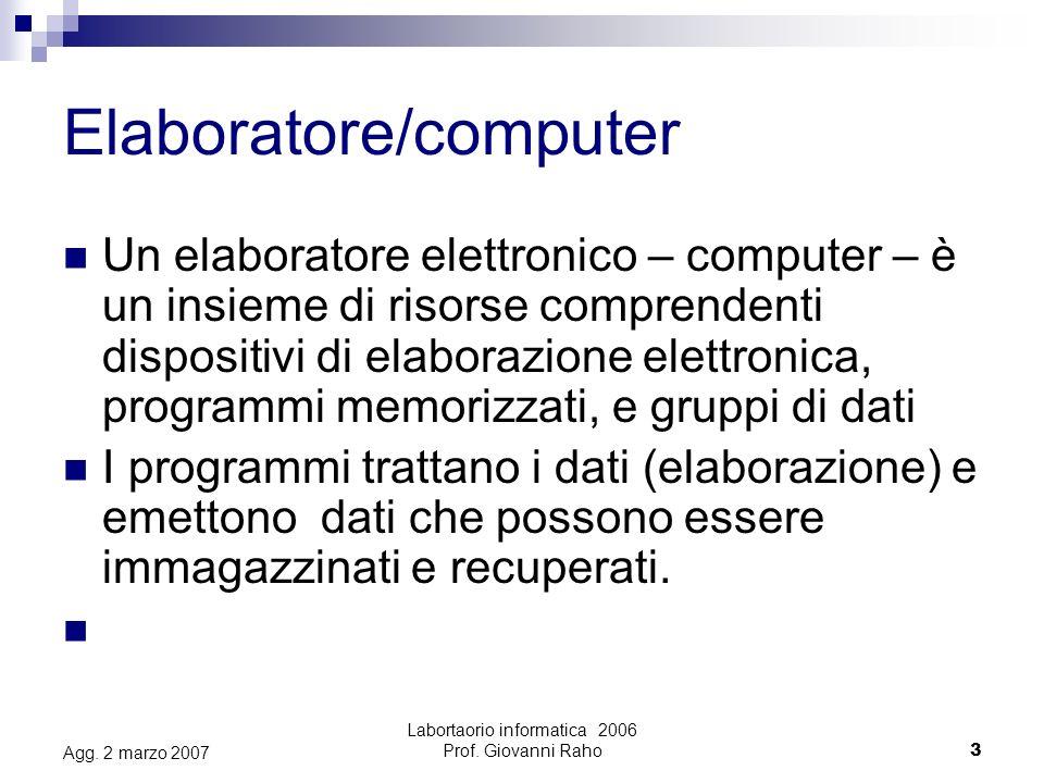 Labortaorio informatica 2006 Prof. Giovanni Raho3 Agg.