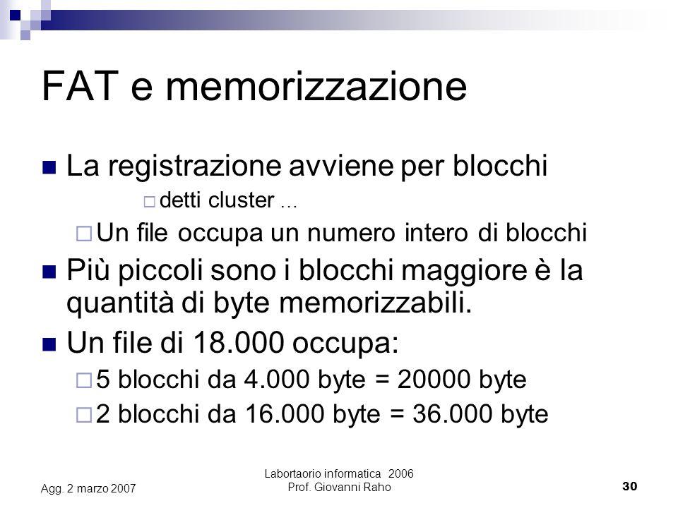 Labortaorio informatica 2006 Prof.Giovanni Raho30 Agg.