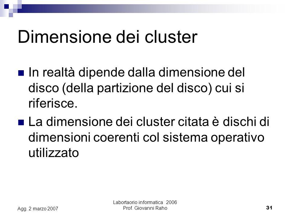 Labortaorio informatica 2006 Prof.Giovanni Raho31 Agg.