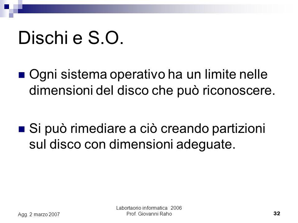 Labortaorio informatica 2006 Prof. Giovanni Raho32 Agg.