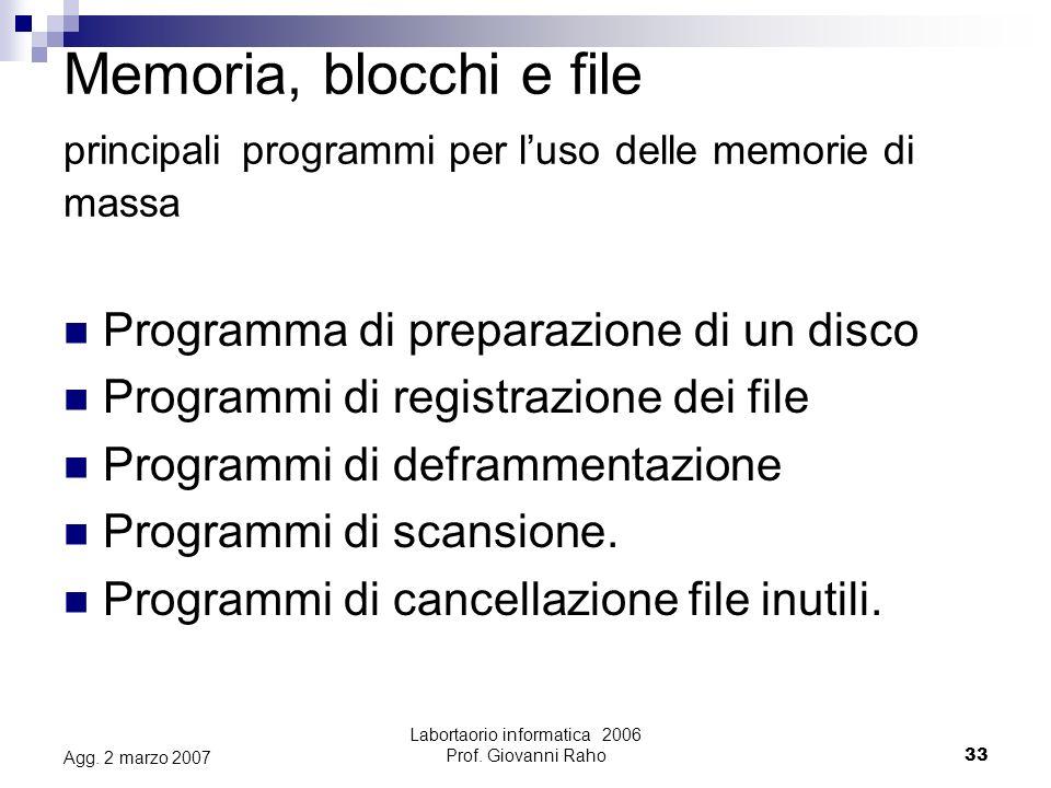 Labortaorio informatica 2006 Prof. Giovanni Raho33 Agg.