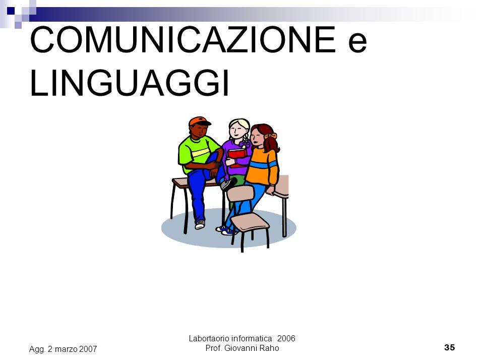 Labortaorio informatica 2006 Prof. Giovanni Raho35 Agg. 2 marzo 2007 COMUNICAZIONE e LINGUAGGI