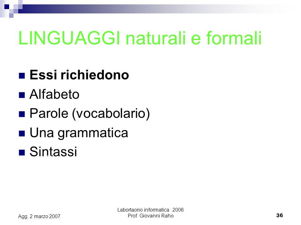 Labortaorio informatica 2006 Prof.Giovanni Raho36 Agg.