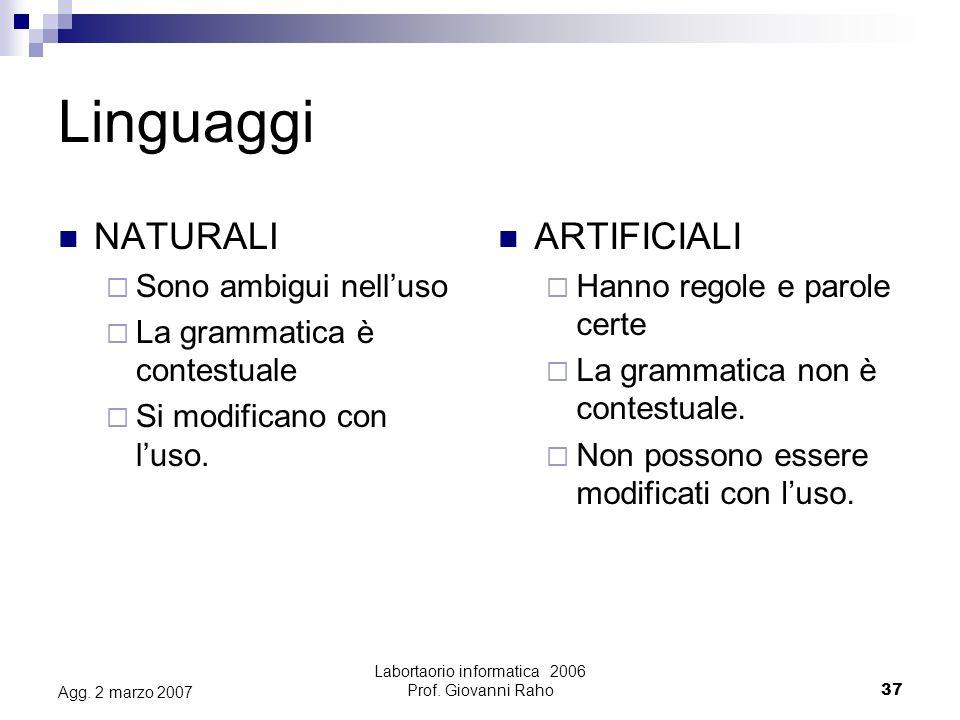 Labortaorio informatica 2006 Prof. Giovanni Raho37 Agg.