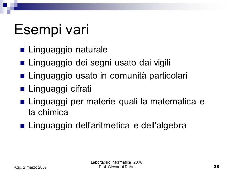 Labortaorio informatica 2006 Prof.Giovanni Raho38 Agg.
