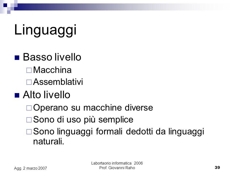 Labortaorio informatica 2006 Prof.Giovanni Raho39 Agg.
