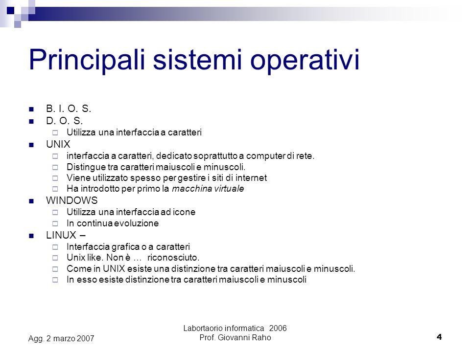 Labortaorio informatica 2006 Prof.Giovanni Raho5 Agg.