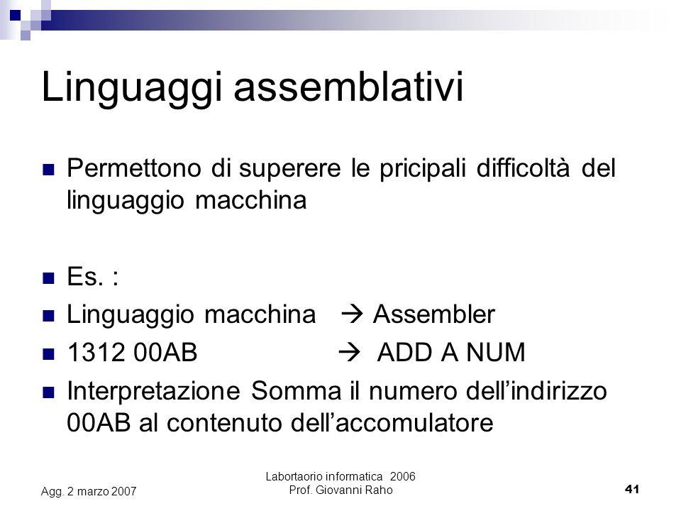 Labortaorio informatica 2006 Prof.Giovanni Raho41 Agg.