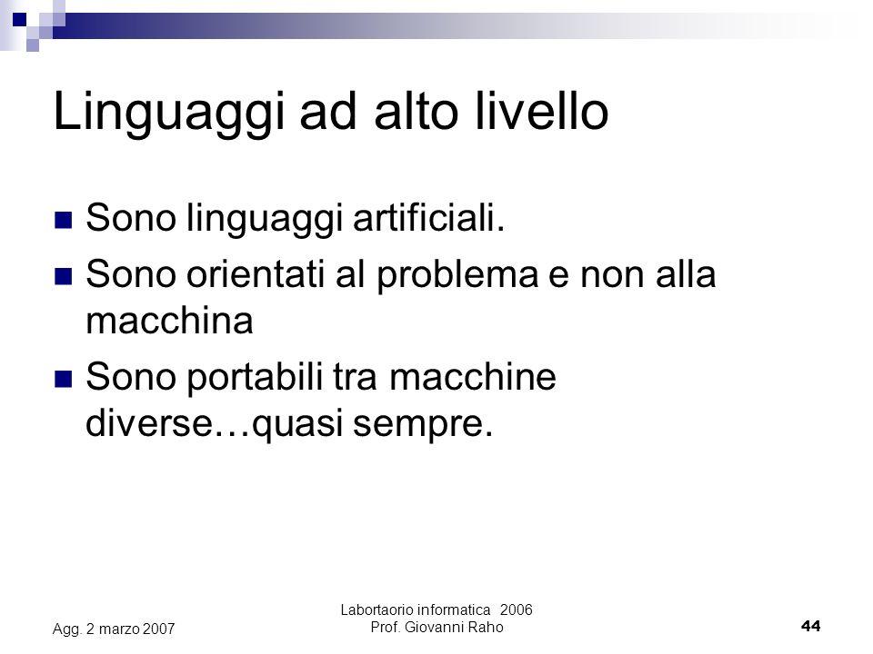 Labortaorio informatica 2006 Prof.Giovanni Raho44 Agg.