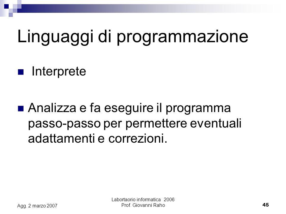 Labortaorio informatica 2006 Prof.Giovanni Raho45 Agg.