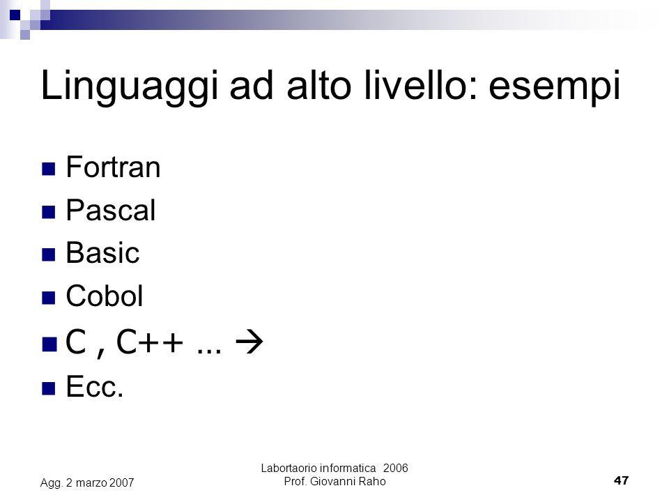 Labortaorio informatica 2006 Prof. Giovanni Raho47 Agg.
