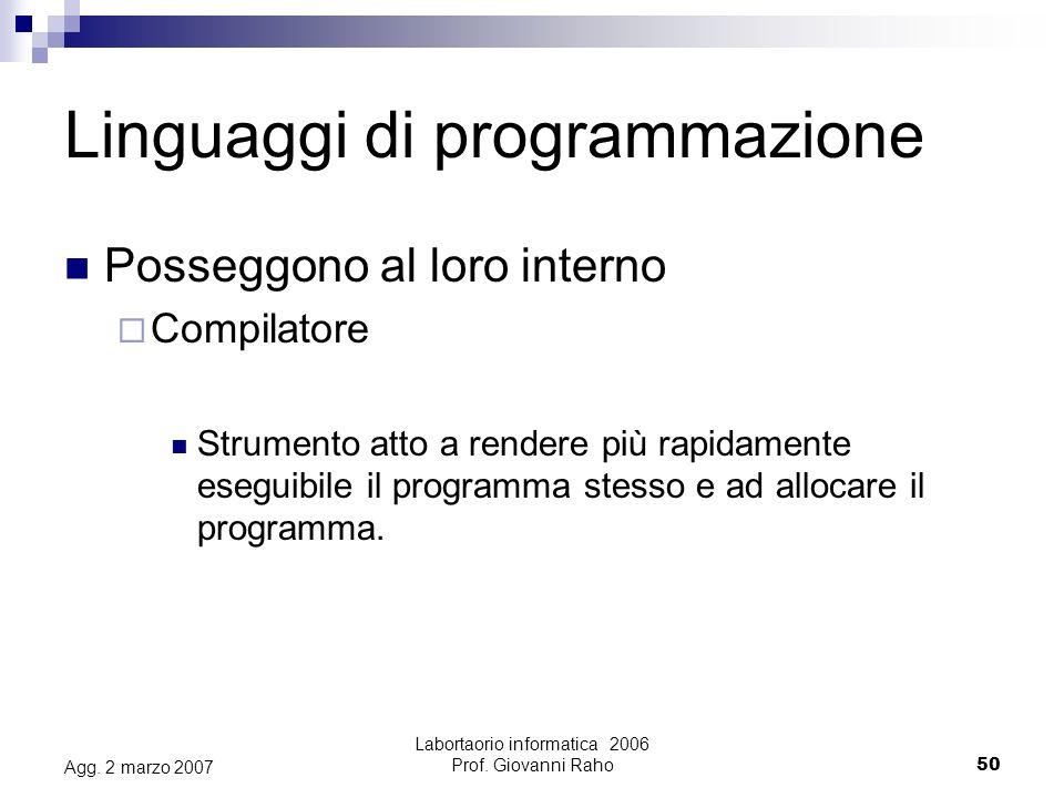 Labortaorio informatica 2006 Prof. Giovanni Raho50 Agg.