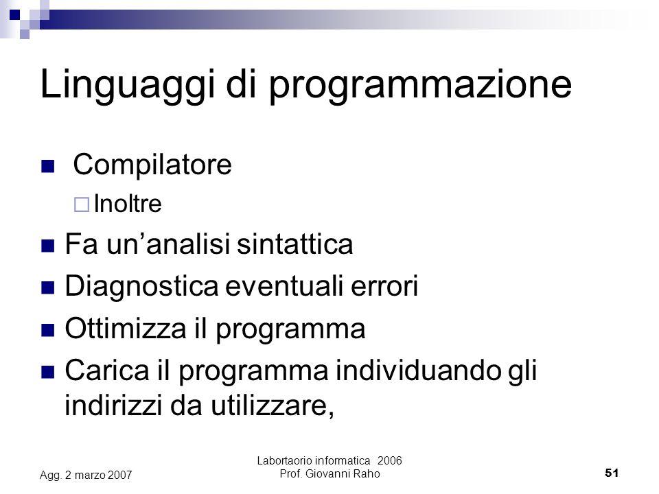 Labortaorio informatica 2006 Prof.Giovanni Raho51 Agg.