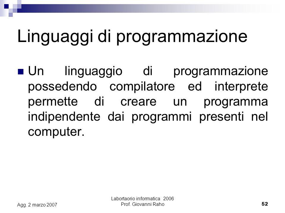 Labortaorio informatica 2006 Prof. Giovanni Raho52 Agg.