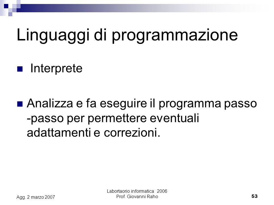 Labortaorio informatica 2006 Prof. Giovanni Raho53 Agg.