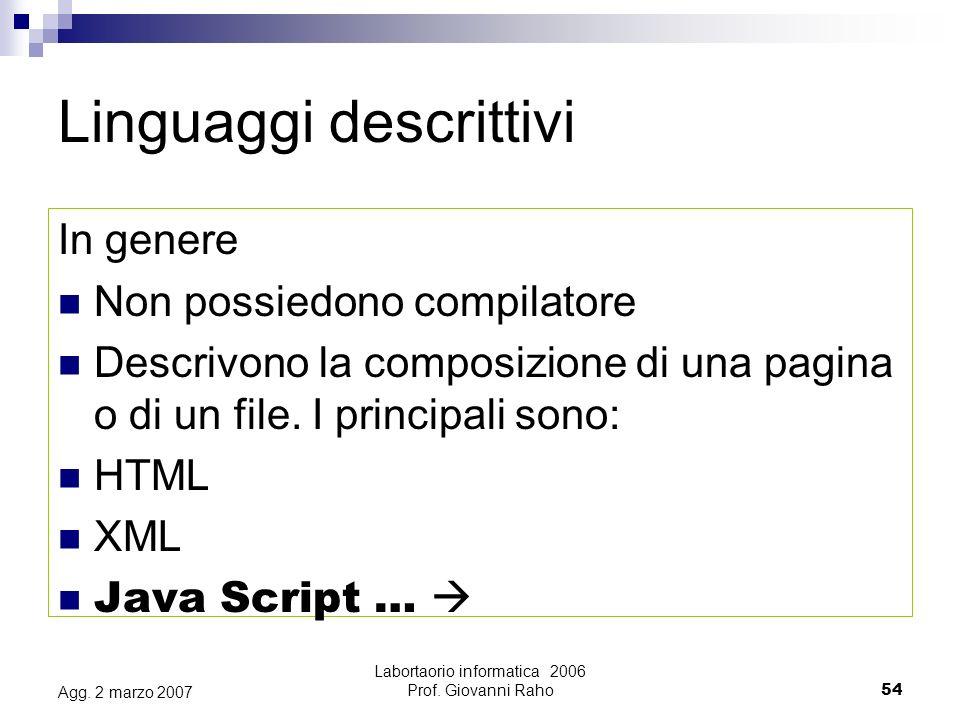Labortaorio informatica 2006 Prof. Giovanni Raho54 Agg.
