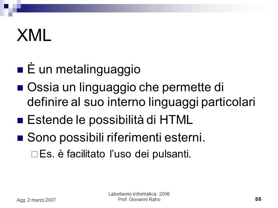 Labortaorio informatica 2006 Prof. Giovanni Raho55 Agg.