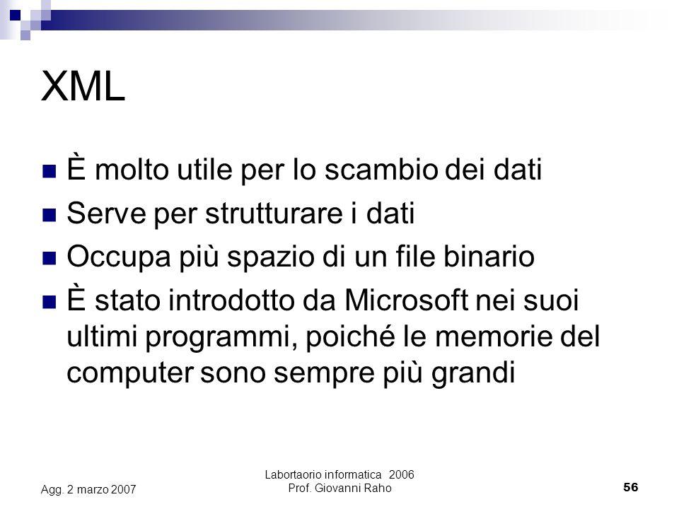 Labortaorio informatica 2006 Prof. Giovanni Raho56 Agg.